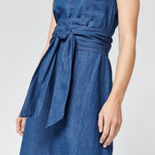 Warehouse, Tie Front Dress Mid Wash Denim 4