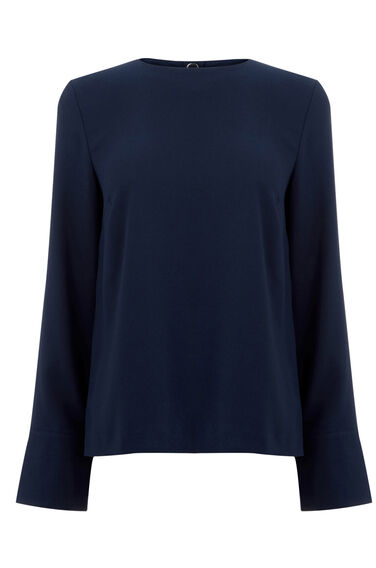 Warehouse, EYELET DETAIL TOP Navy 0