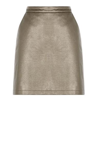 Warehouse, Metallic Faux Leather Skirt Gold Colour 0