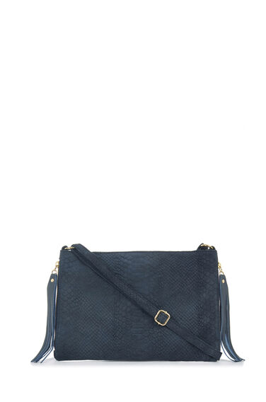 Warehouse, Suede Embossed Croc Cross Body Navy 0