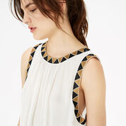 Warehouse, Embroidered Trim Top White 4