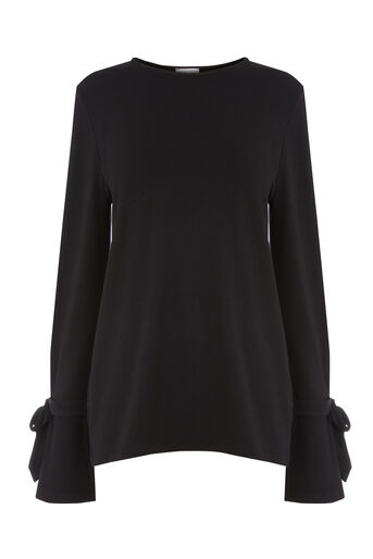 Warehouse, TIE CUFF LONG SLEEVE TOP Black 0
