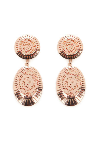Warehouse, LASER CUT DROP EARRINGS Rose Gold 0