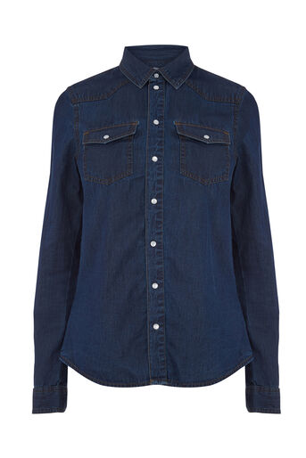 Warehouse, WESTERN SHIRT Dark Wash Denim 0