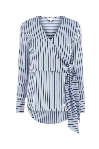 Warehouse, STRIPE WRAP BLOUSE Blue Stripe 0