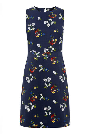 Warehouse, SPACED FLORAL SHIFT DRESS Navy 0