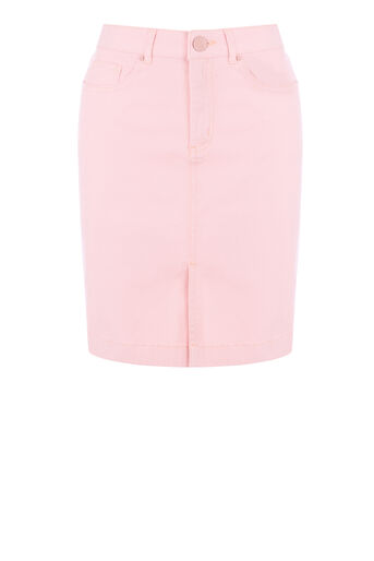 Warehouse, Split Front Denim Skirt Light Pink 0