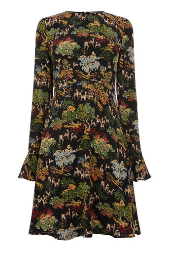 Warehouse, DEER WOODLAND FLUTED DRESS Black Pattern 0