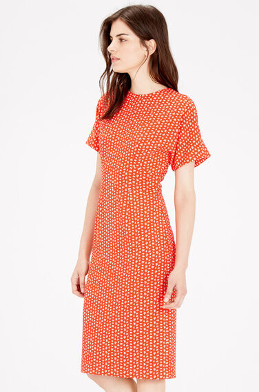 Warehouse, SQUIGGLE PRINT MIDI DRESS Bright Red 0