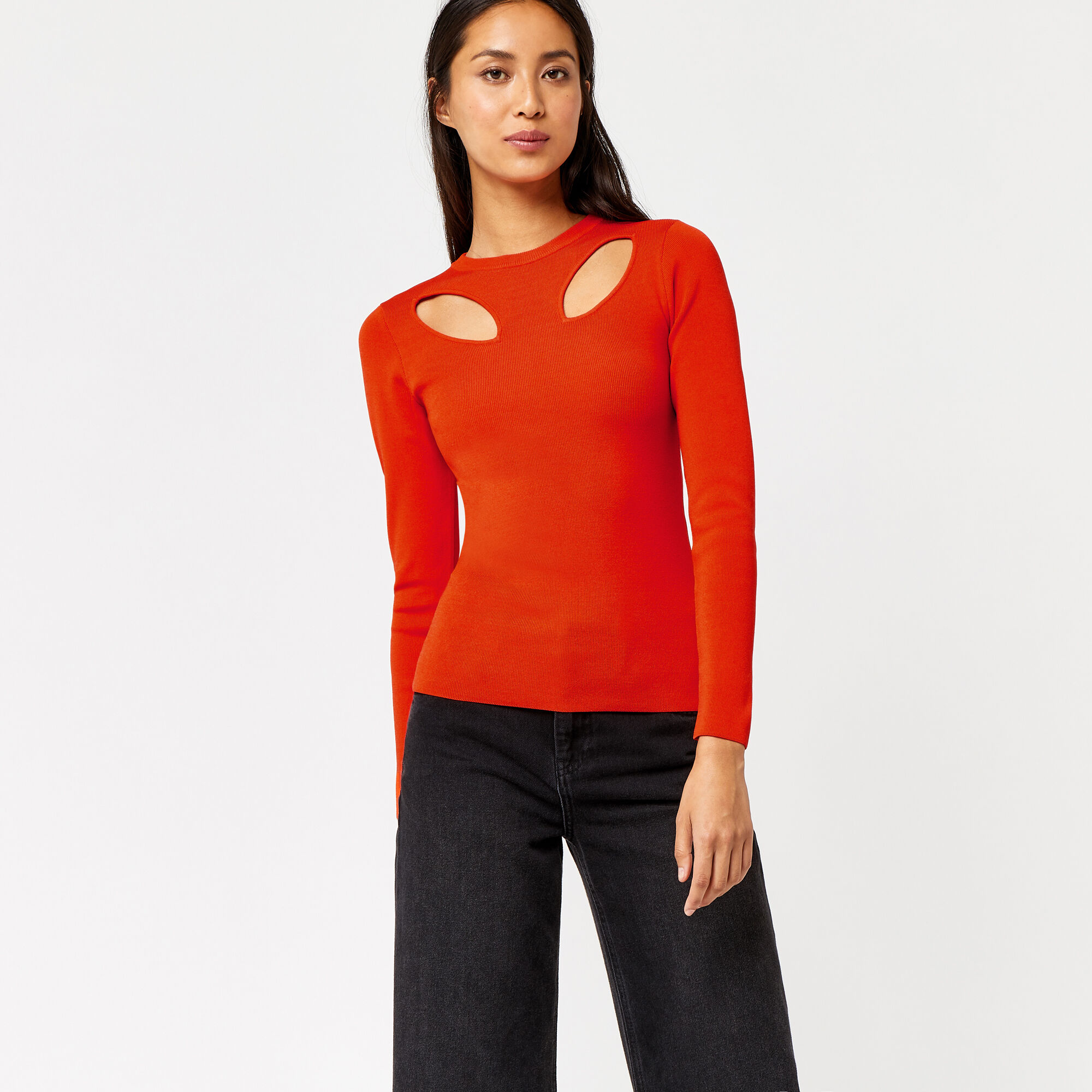 Warehouse, CUT OUT PETAL JUMPER Bright Red 1