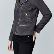 Warehouse, Suede Biker Jacket Dark Grey 4