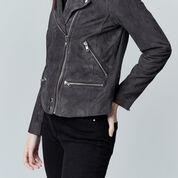 Warehouse, Suede Biker Jacket Dark Grey 4