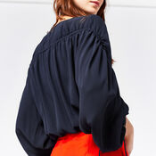 Warehouse, CHANNEL SLEEVE TOP Navy 1