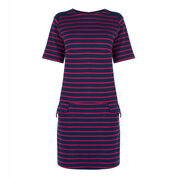 Warehouse, STRIPE PONTE SHIFT DRESS Blue Stripe 0