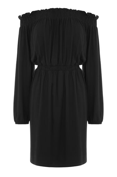 Warehouse, OFF SHOULDER DRESS Black 0