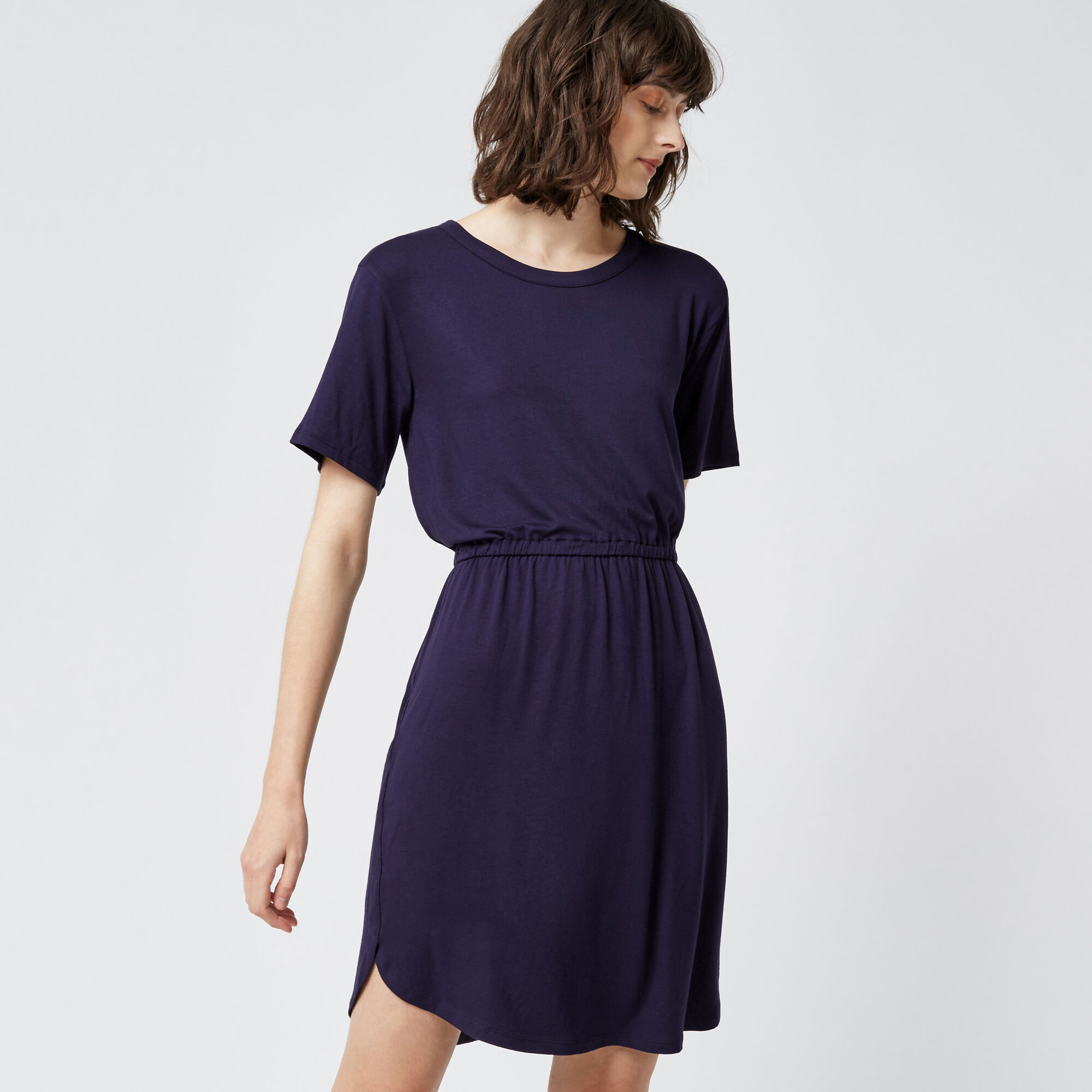 Warehouse, GATHERED WAIST T-SHIRT DRESS Navy 1