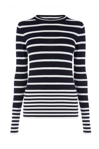 Warehouse, STRIPE CREW JUMPER Navy 0