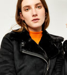 Warehouse, SUEDETTE BONDED BIKER JACKET Black 4