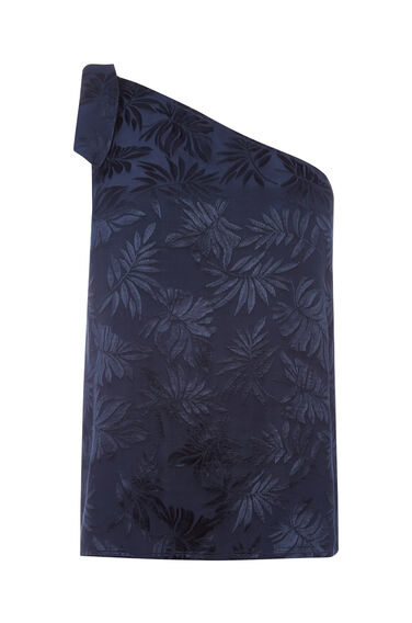 Warehouse, LEAF JACQUARD TOP Navy 0