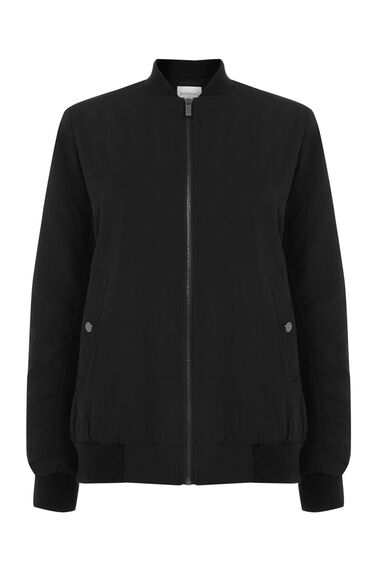 Warehouse, Wadded Bomber Jacket Black 0