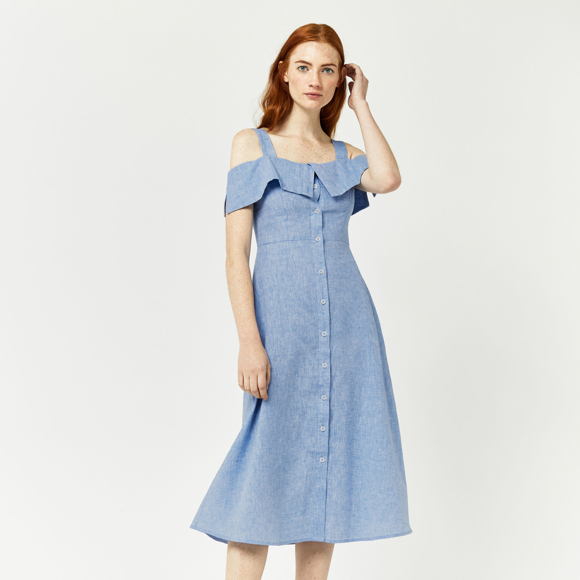 Warehouse, CHAMBRAY BUTTON THROUGH DRESS Light Blue 1