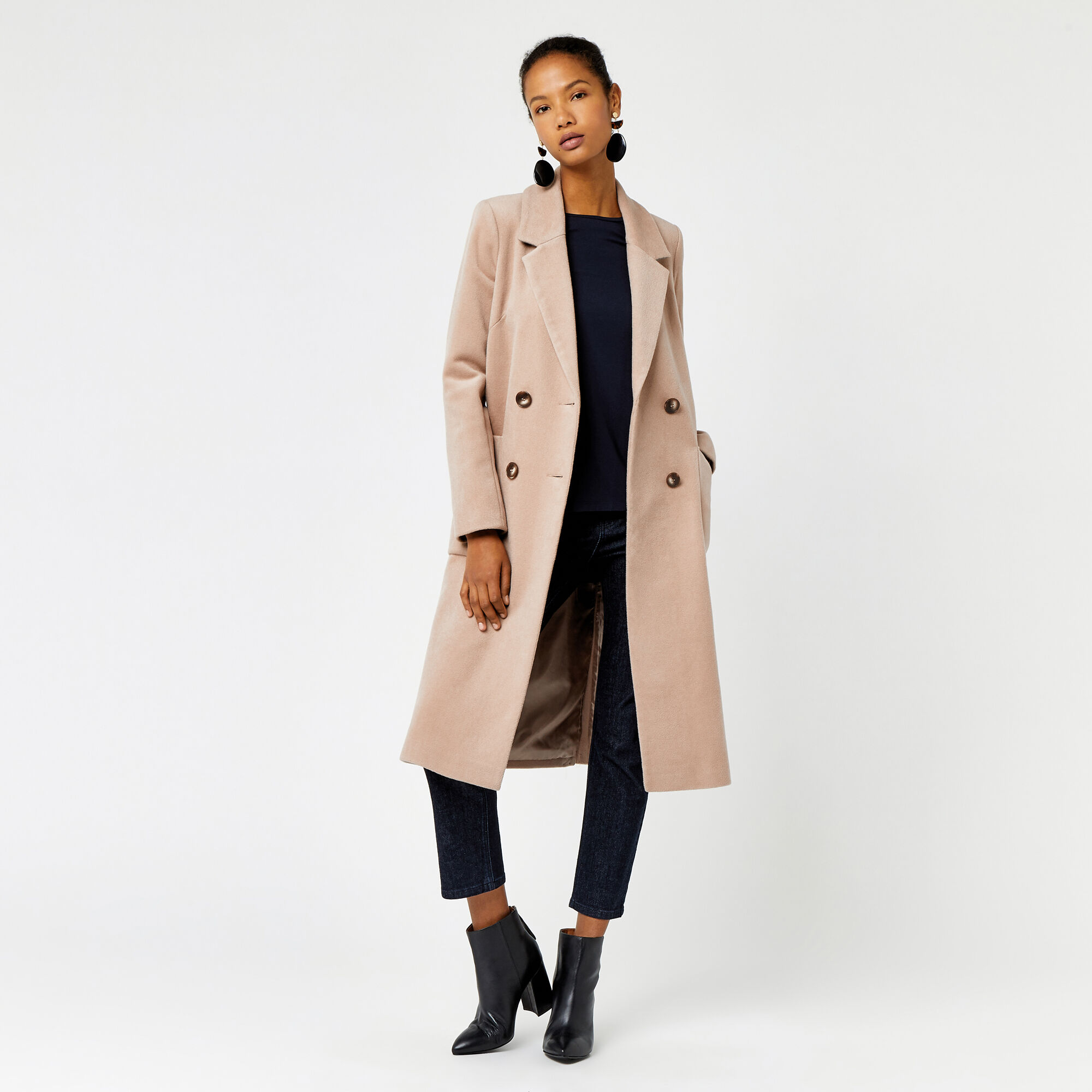 Warehouse, Silk Mix Long Line Crombie Camel 1