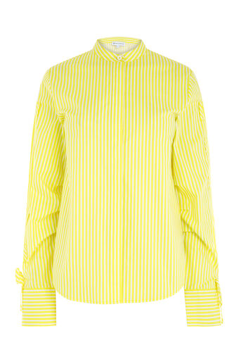 Warehouse, STRIPE RUCHED SLEEVE SHIRT Yellow 0