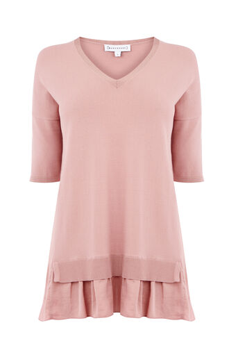 Warehouse, WOVEN HEM V NECK JUMPER Light Pink 0