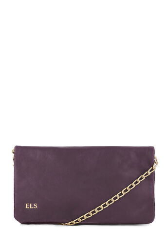 Warehouse, MONOGRAM LEATHER CHAIN BAG Berry 0