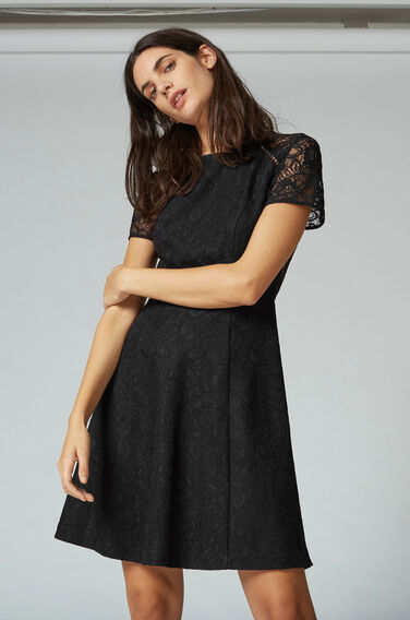 Warehouse, LACE SKATER DRESS Black 1