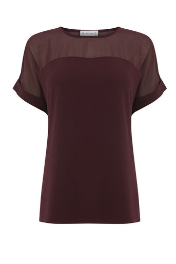 Warehouse, SHEER PANEL SHORT SLEEVE TOP Dark Red 0