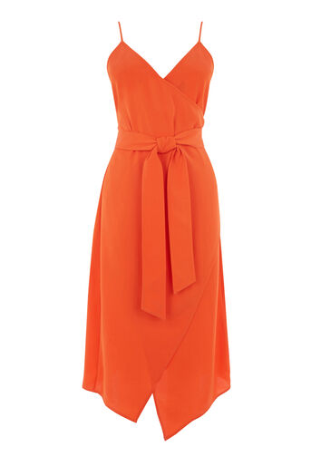 Warehouse, WRAP CAMI DRESS Orange 0