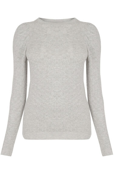Warehouse, POINTELLE PUFF SLEEVE JUMPER Light Grey 0