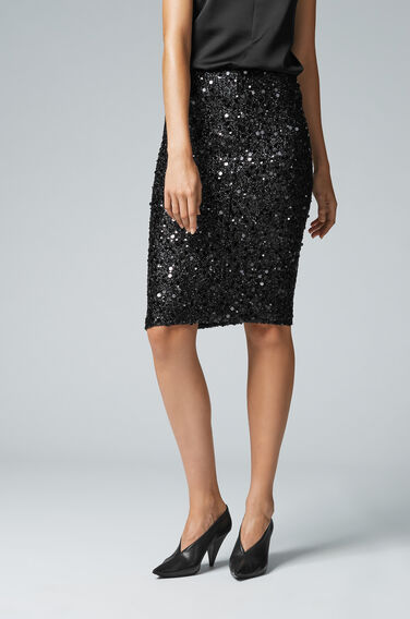 Warehouse, SEQUIN SKIRT Black 1