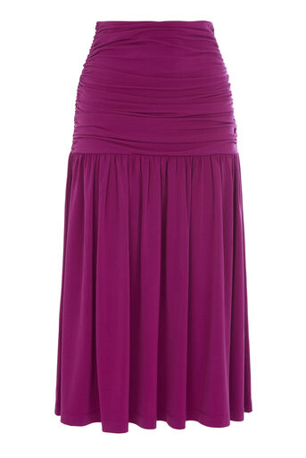 Warehouse, SLINKY RUCHED MIDI SKIRT Bright Purple 0