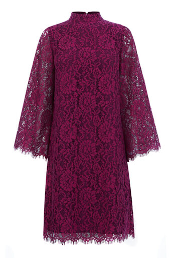 Warehouse, TWO TONE LACE DRESS Raspberry 0