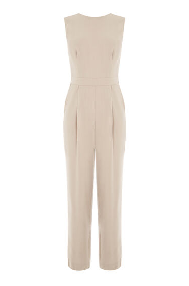 Warehouse, CASUAL TIE BACK JUMPSUIT Stone 0