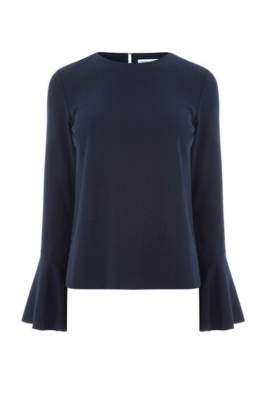 Warehouse, FLUTE SLEEVE TOP Navy 0