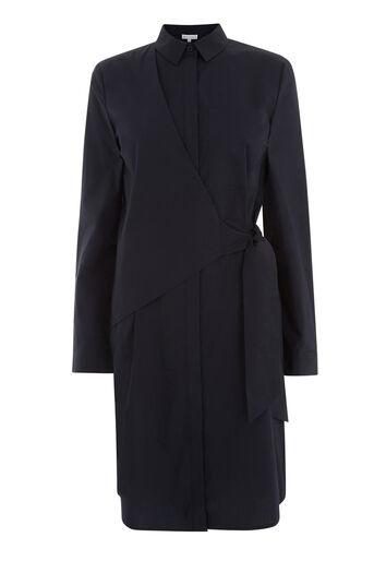 Warehouse, ASYMMETRIC WRAP SHIRT DRESS Navy 0