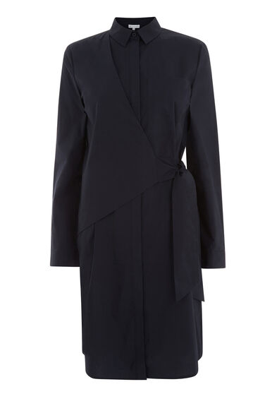 Warehouse, ASYMMETRIC WRAP SHIRT DRESS Navy 0