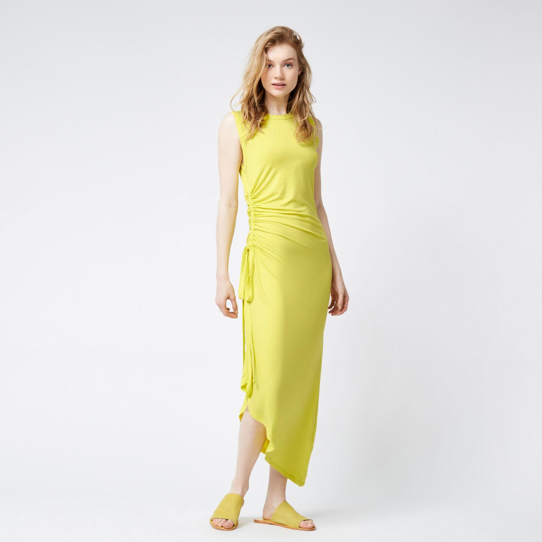 Warehouse, RUCHE SLEEVELESS MIDI DRESS Yellow 1