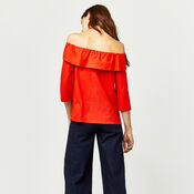 Warehouse, TIE FRONT BARDOT TOP Bright Red 3