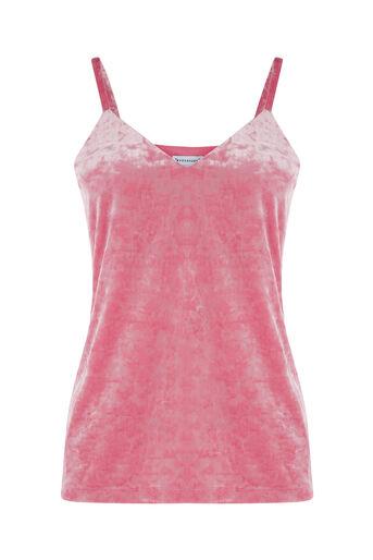 Warehouse, CRUSHED VELVET CAMI Bright Pink 0