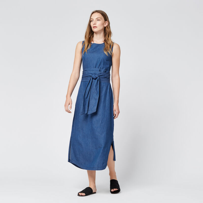 Warehouse, Tie Front Dress Mid Wash Denim 1
