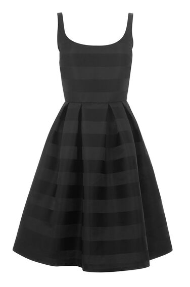 Warehouse, STRIPE JACQUARD PROM DRESS Black 0