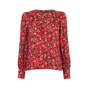 Warehouse, Floral Button Back Blouse Red Pattern 0