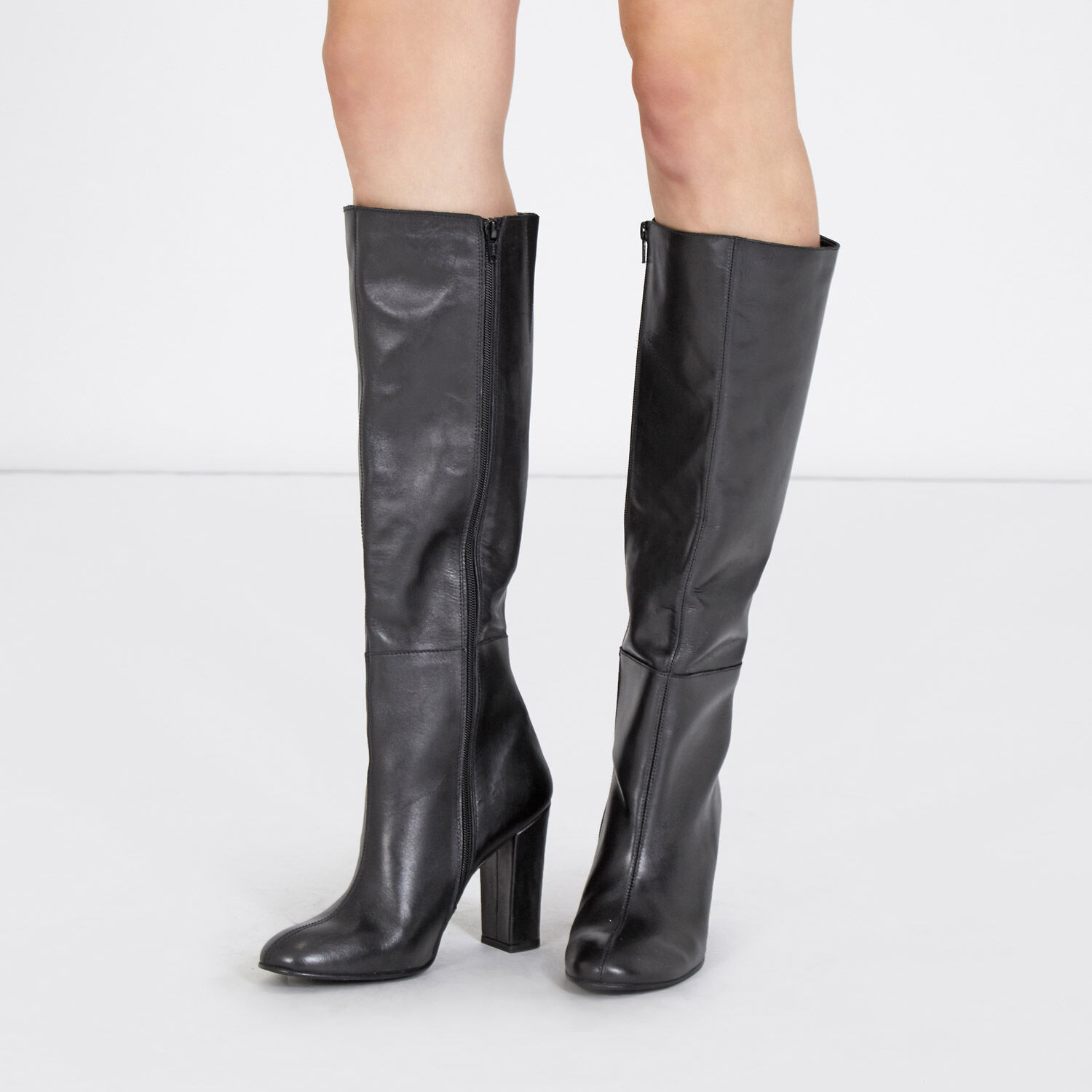 Warehouse, Leather Knee High Boots Black 1