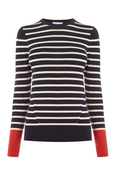 Warehouse, BLOCK STRIPE JUMPER Navy 0