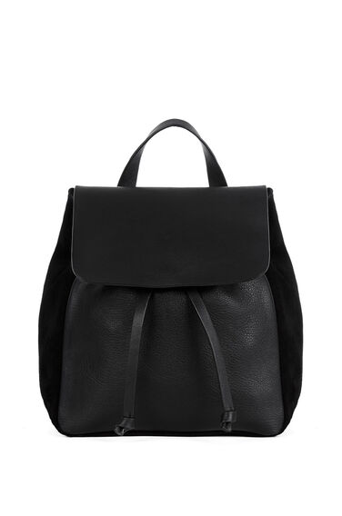 Warehouse, Leather Suede Mini Rucksack Black 0