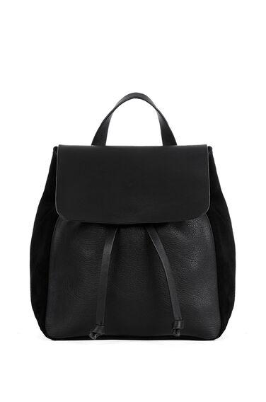 Warehouse, Leather Suede Mini Rucksack Black 0